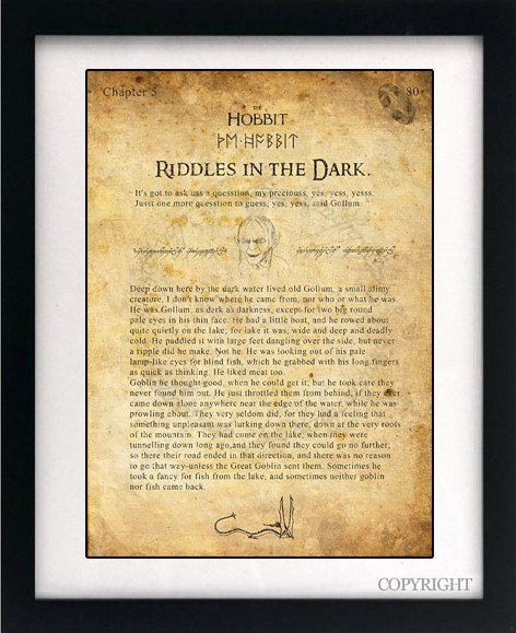 The Hobbit Gollum Art Book Print - A3 or A4 Large Vintage Page Effect Wall Art.. £13.99, via Etsy.