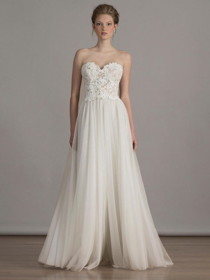 Liancarlo Italian guipure sweetheart bodice on soft tulle A-line skirt strapless wedding dress from Spring 2016