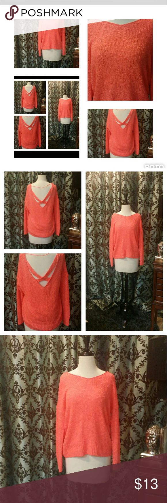 🎈 SALE🎈Coral Off the Shoulder Slouchy  Sweater Coral Off the Shoulder Criss Cross Back Slouchy Comfy Sweater Tops