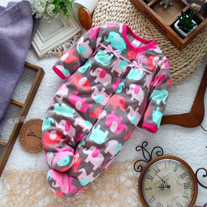 Long-Sleeve Micro-Polar Fleece Jumpsuit Newborn Baby Girl