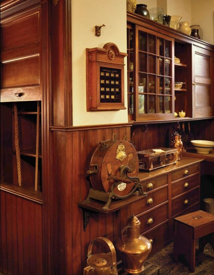"""The original pantry at Naumkeag offers several """"modern technologies"""" of the day, such as a dumbwaiter, call box, and knife sharpener. (Photo: Jonathan Wallen)"""