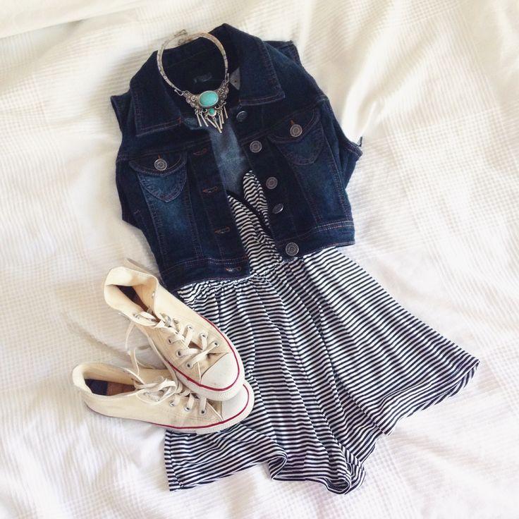 weekend wear(One-piece:$24.98, Veste en jeans:$24.98, Collier:$12) #republiquecollection #style #fashion #mode #summer #trend #converse #onepiece #romper #jumpsuit #jean #jeanvest