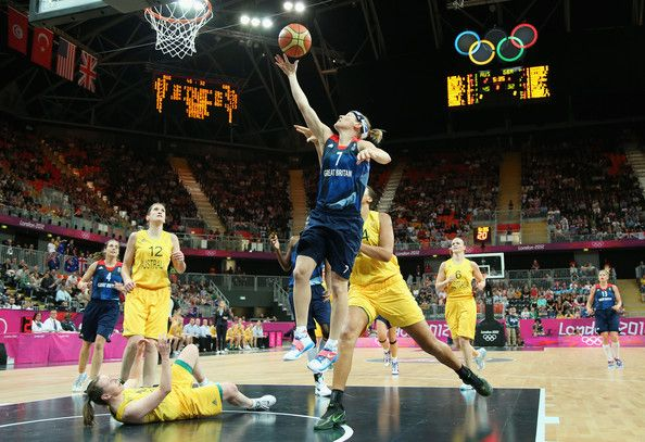 Rachael Vanderwal #7 of Great Britain shoots against Liz Cambage #14 of Australia during Women's Basketball on Day 1 of the London 2012 Olympic Games at the Basketball Arena on July 28, 2012 in London, England.