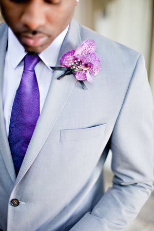 Gray Suit and Radiant Orchid Boutonniere via Southern Weddings #groomstyle #boutonniere #radiantorchid