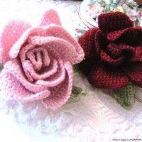 比较有难度的立体玫瑰花的钩法