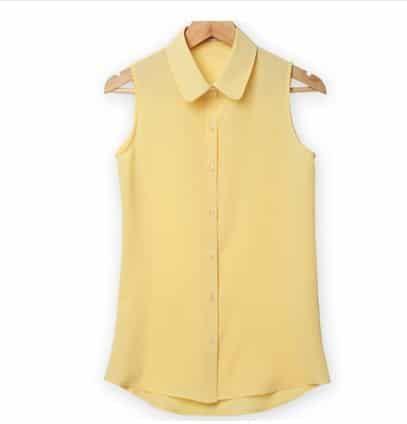 Women Sleeveless Turn-down Chiffon Blouse //Price: $14.95 & FREE Shipping //     #stylish
