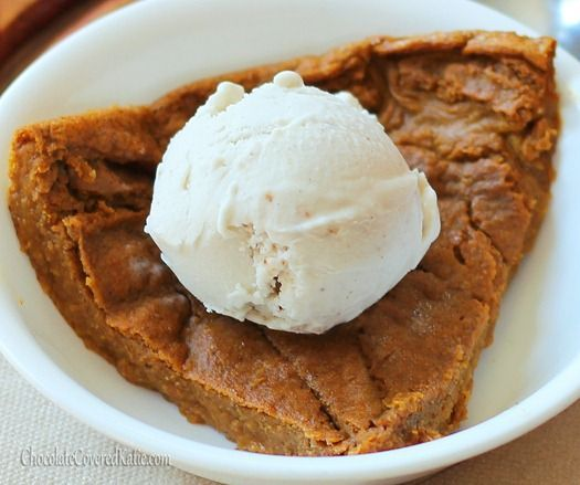 Crustless pumpkin pie. Under 450 calories for not just a slice, but