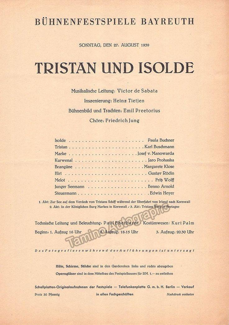 Bayreuth 1939 - Tristan und Isolde Playbill