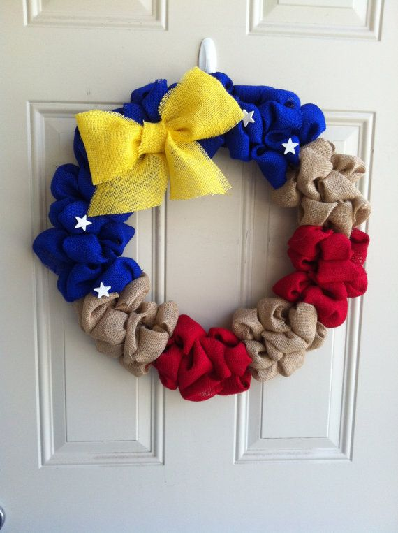 Large Burlap wreath Red White & Blue by onceuponaflowerbyMW