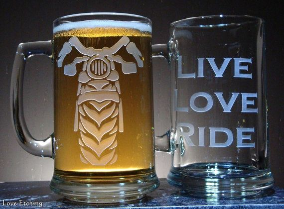 MOTORCYCLE Etched Glass Beer Mug for Motorcycle Riders