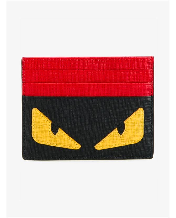 FENDI Monster Eyes Leather Card Holder