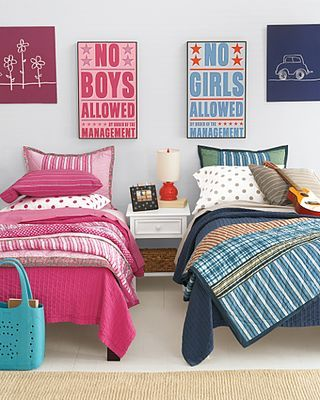 same patterns with boy / girl colors.... love the signs, do twin beds and not bunk beds if you have room cause they will have their own space.