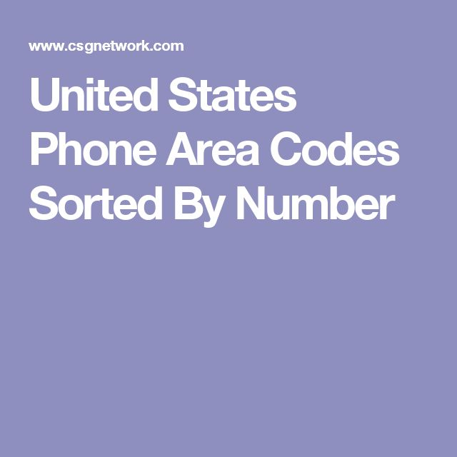 United States Phone Area Codes Sorted By Number