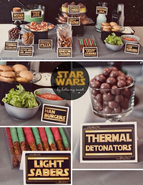 Star Wars party foods. I love an old geeky party. Ive had a Star Wars, Harry Potter, Hobbit/Lord of the rings and a Narnia party so far. What about this year?