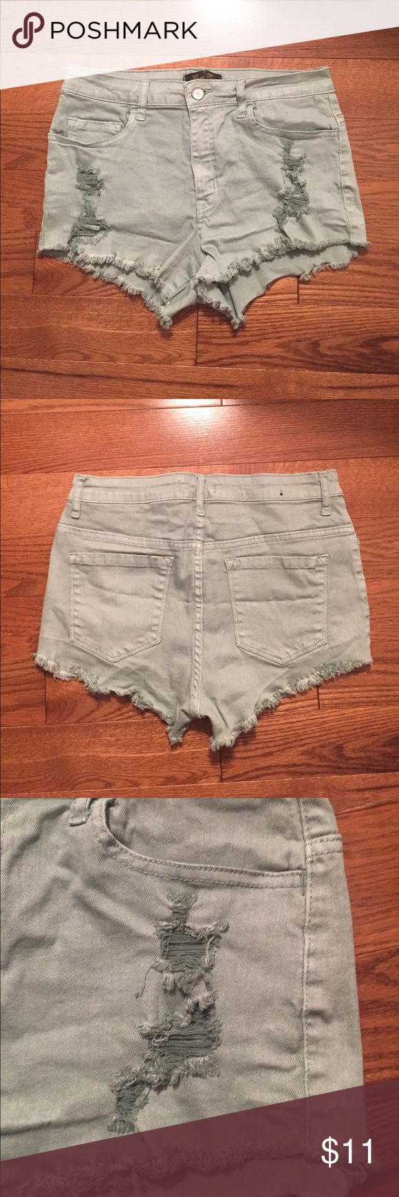 Mint green ripped jean shorts Mint green jean shorts. Ripped in front of pockets and on the hem. Size large, fits like a size 6. Shorts Jean Shorts