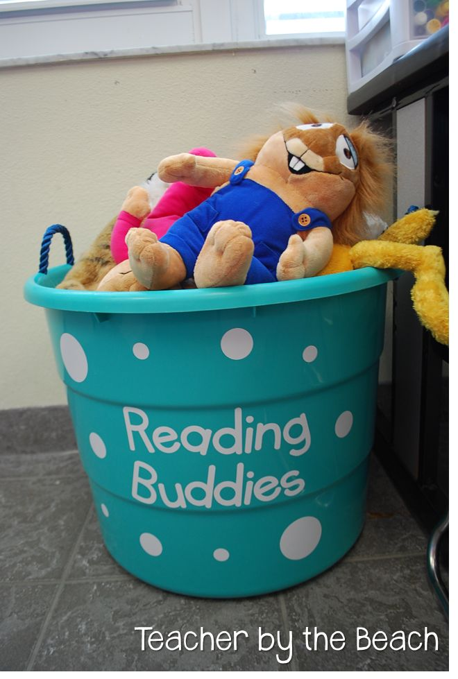"Have a bucket of ""Reading Buddies"" for silent reading time. (Literacy Environments)"