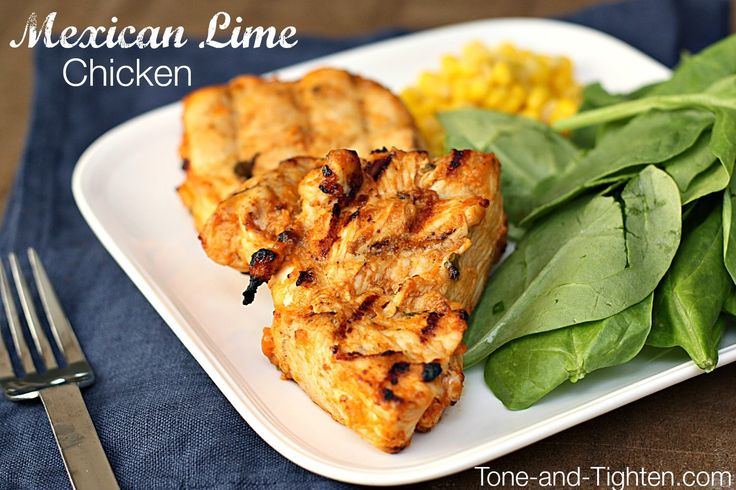 Grilled Mexican Lime Chicken on Tone-and-Tighten.com - a healthy recipe you can throw together in minutes!
