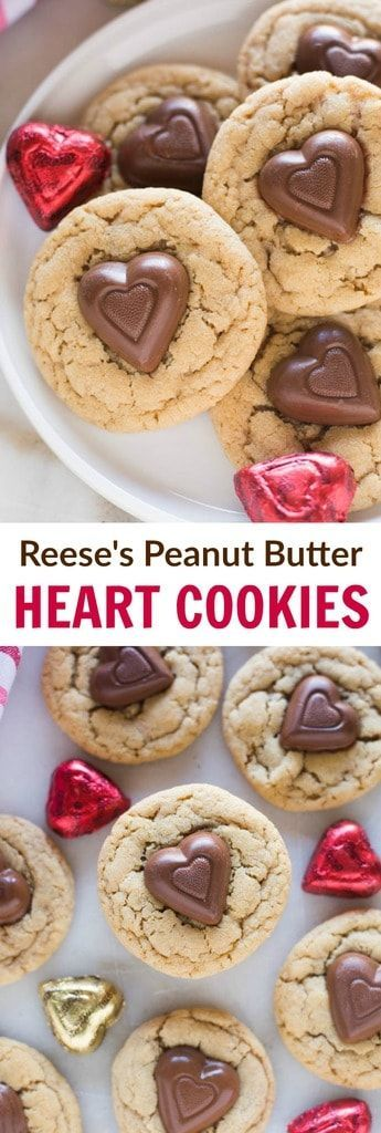 My favorite soft and chewy peanut butter cookies, with a Reese's peanut butter heart pressed into the center. #cookies #holiday #peanutbutter #reeses #chocolate