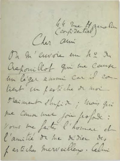 "November 6th...Auction! ""Proust Gets Boost at Christie's: Eight signed autograph letters written by French novelist, critic and essayist Marcel Proust (1871-1922) are being sold by Christie's-Paris in its Importants Livres, Anciens Livres, Livres d'Artistes, et Manuscrits sale November 6, 2013. Offered in eight individual lots, estimates range from $2,000-$12,000."" http://www.christies.com/lotfinder/books-manuscripts/proust-marcel-lettre-autographe-signee-marcel-5731272-details.aspx"