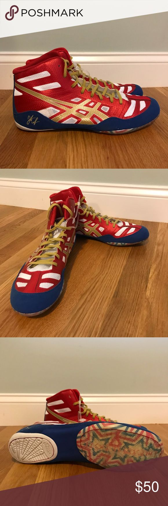 Limited edition Asics shoes Asics JB Elite wrestling/boxing shoes. Limited edition colors classic red, blue, white and gold. Spirit sole with gel bottoms. Extremely lightweight. Based on world and Olympic champion Jordan Burroughs.  Never been worn - Perfect Condition! Asics Shoes Athletic Shoes