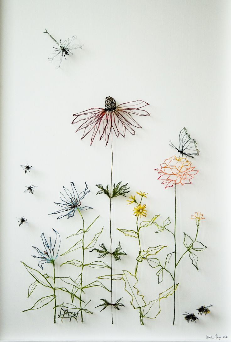 A still life. Flowers and insects - Ulrika Berge