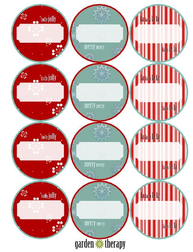 Holiday can labels from Garden Therapy
