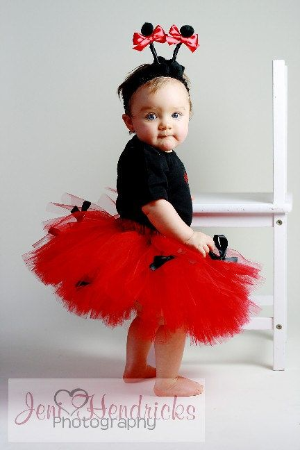 Newborn/Infant/Toddler Ladybug Tutu Costume 3 pcs include onesie tutu and antannae headband. $45.50, via Etsy.