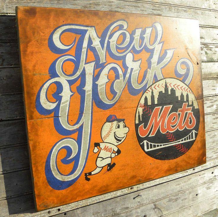 New York METS baseball   Sign, original, handmade, faux vintage, wooden sign, sports decor. $160.00, via Etsy.