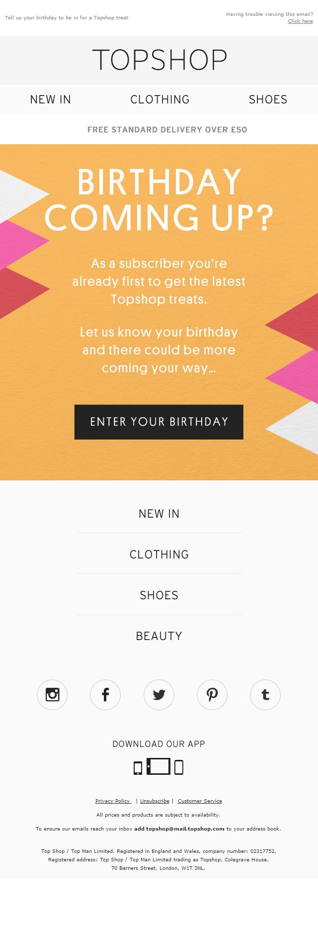 Topshop Birthday Email for Personalisation