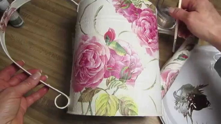 Chalk paint & Decoupage on Metal Pitcher / This pitcher was purchased at a thrift store! Step by step instructions on how to make it pretty again!
