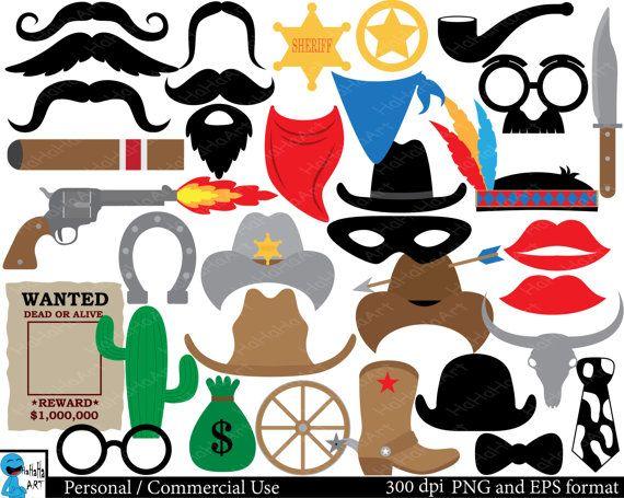 Cowboy props Set Clipart  Digital Clip Art Graphics by HaHaHaArt