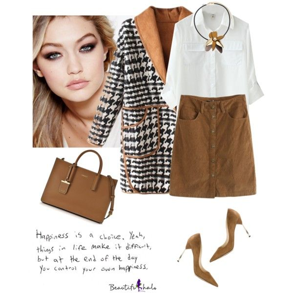 Beautifulhalo Brown Skirt by lera-chyzh on Polyvore featuring polyvore, fashion, style, Jimmy Choo, DKNY, Marni, Maybelline and clothing