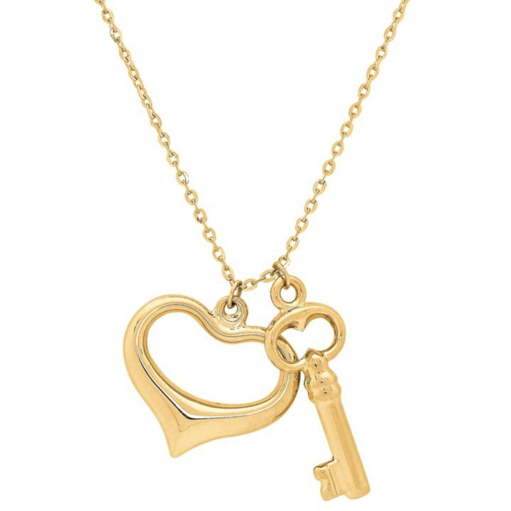 14K White Gold Key to My Heart Charm Plain Pendant For Necklace or Chain
