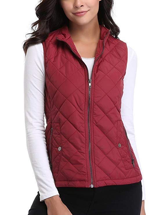 746eddf4aef73 MISS MOLY Women s Zip Up Stand Collar Lightweight Quilted Gilets Packable  Padded Vest w 2 Side Zip Pockets XS