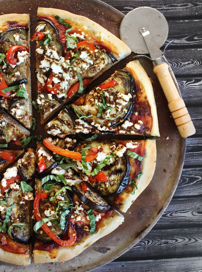 Roasted Red Pepper, Eggplant, & Goat Cheese Pizza