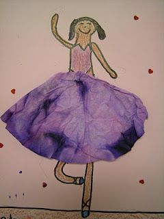 Learn about Degas.  Draw your own ballerina, and use dyed coffee filter for the tutu!