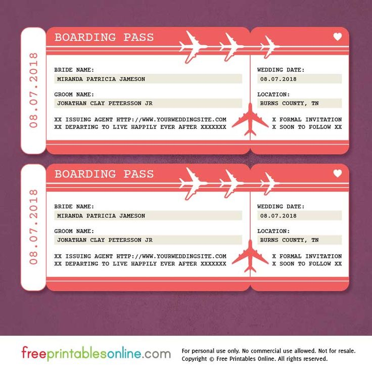 Free printable boarding pass save the date template for Fake boarding pass template