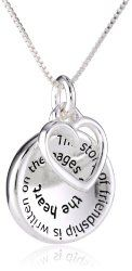 """Sterling Silver """"The Story of Friendship"""" Disc and Heart Pendant Necklace, - Friendship Day Gifts - festchacha.com"""