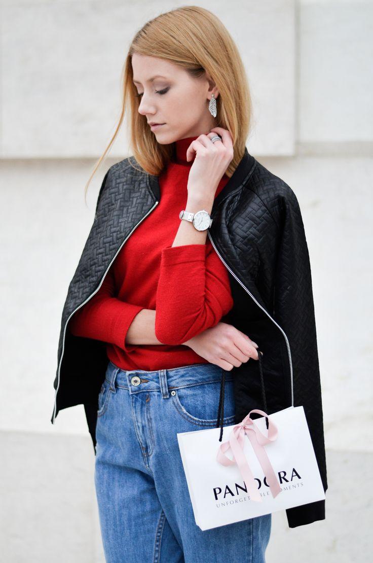 A pop of color #Pandora #black #red #bomber #jacket #turtleneck #momjeans