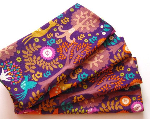 Cloth Napkins  Sets of 4  Purple Woodland Deer by ClearSkyHome, $18.00