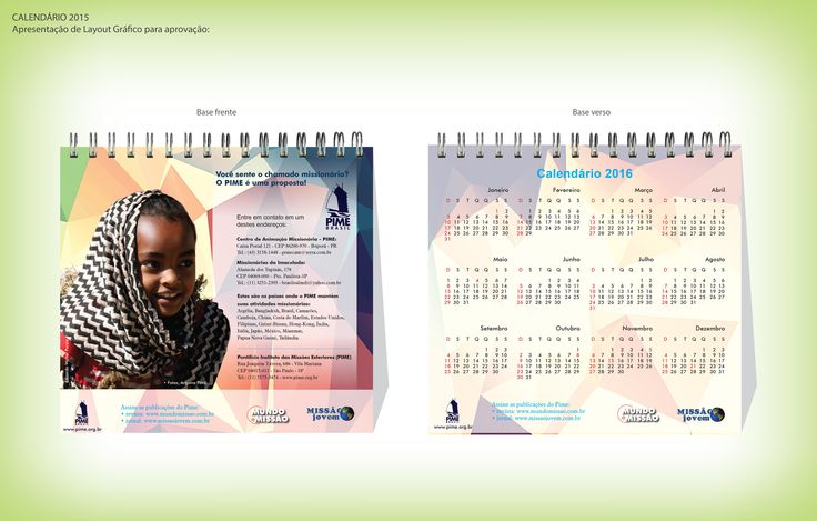 Calendário 2015 base - Editora Mundo e Missão