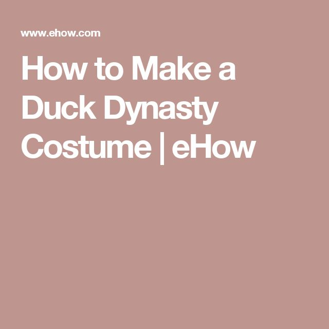 How to Make a Duck Dynasty Costume | eHow