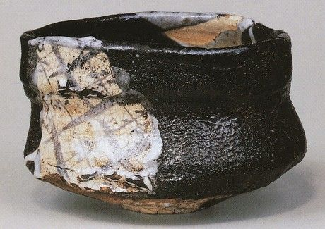 Kuro-oribe tea bowl 黒織部茶碗「富貴」 kuro-oribe (a type of oribe ware with black glaze) Handeishi Kawakita 1878〜1963 川喜田半泥子