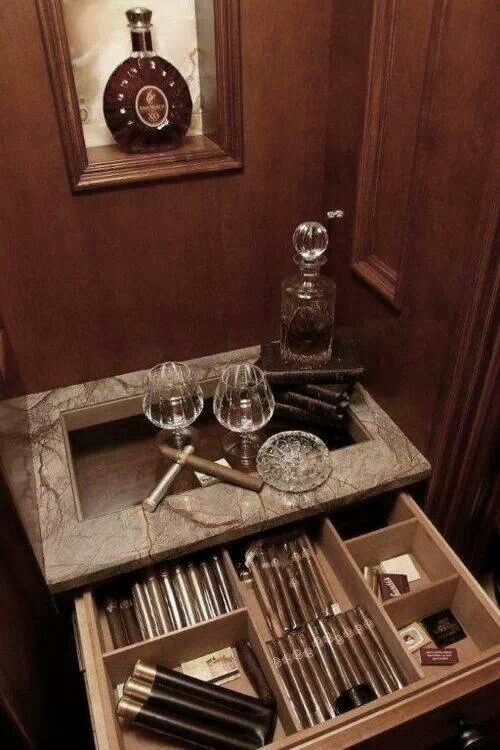 Glass top drawer style humidor...great idea for a coffee table in the bar