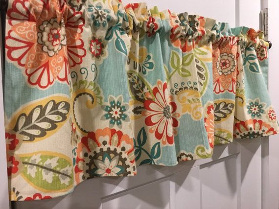 "Waverly Spring Flower Print Red, Peach, Coral, Cream, Light Blue, Lime Green, Yellow, Gray, Aqua, Tan 42"" Valance Curtain"