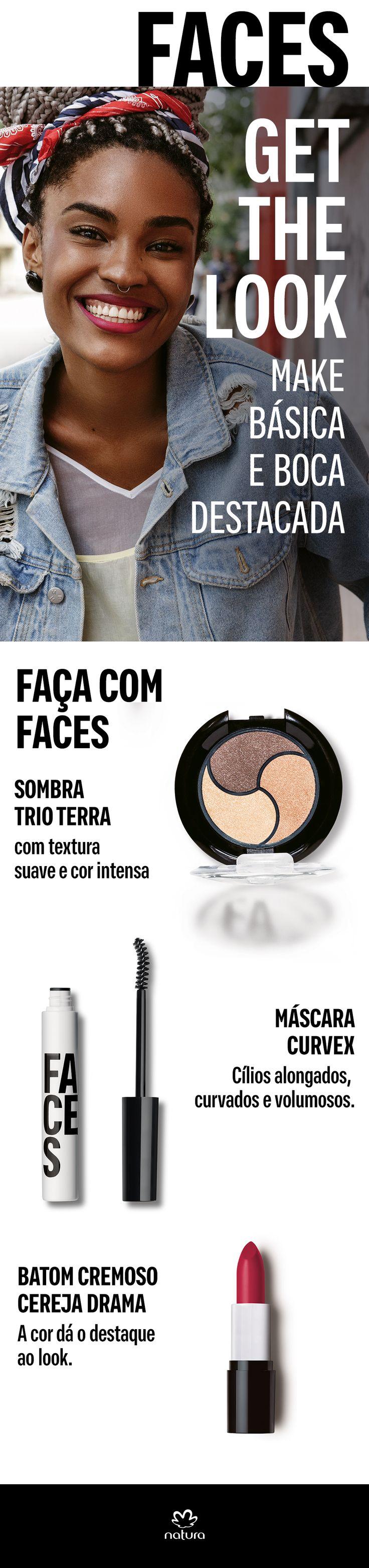 Um look básico é tudo, ainda mais com um toque especial do batom vermelho. Faça com os produtos de Faces: Sombra trio terra, Máscara curvex e Batom cremoso cereja drama.