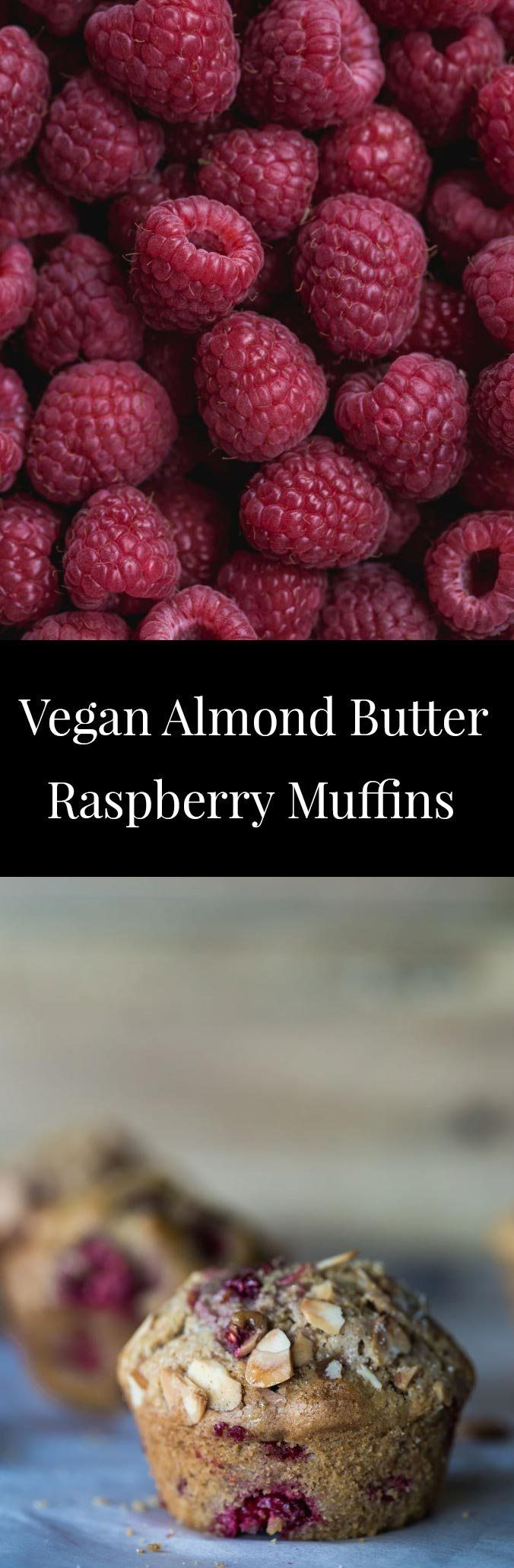 These Vegan Almond Butter Raspberry Muffins are filled with juicy, sweet raspberries nestled within an almond infused moist muffin cake.