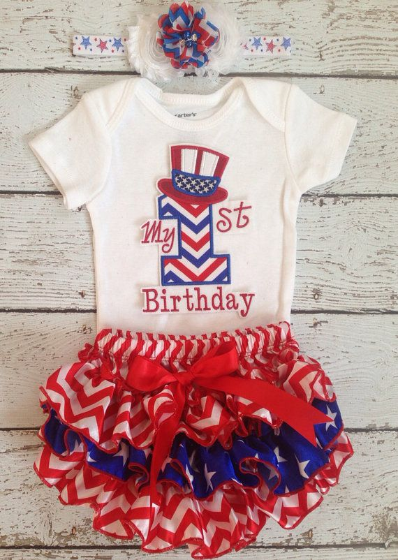 July 4th/Fourth of july Birthday/First Birthday/Patriotic/FireCracker/American Cutie /CakeSmash Ruffle Bloomer set/PhotoProp/Red White Blue on Etsy, $49.99
