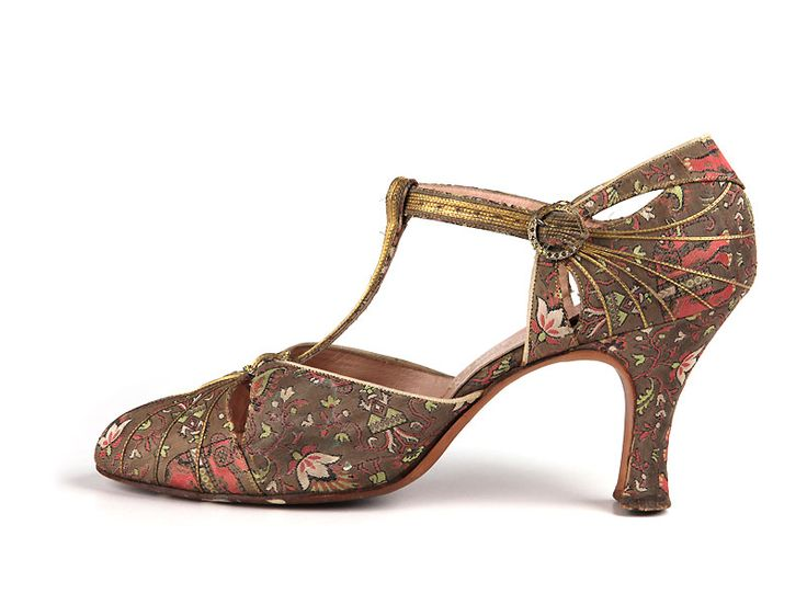 Leather Trimmed Brocade T-Strap Heels, ca. 1925  Fenton for Saks Fifth Avenue