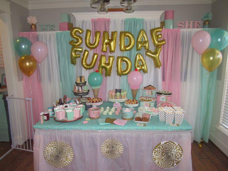Ice cream social gender reveal dessert table Sundae Funday Pink Mint Gold Party Decor Ice Cream sundae bar